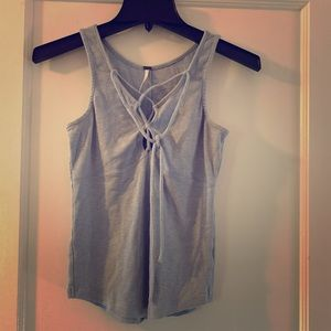 Pastel blue tank top with tie front detail